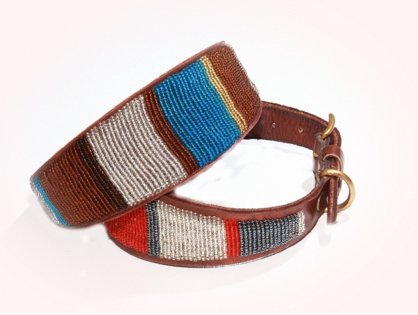 beaded leather collar whippet